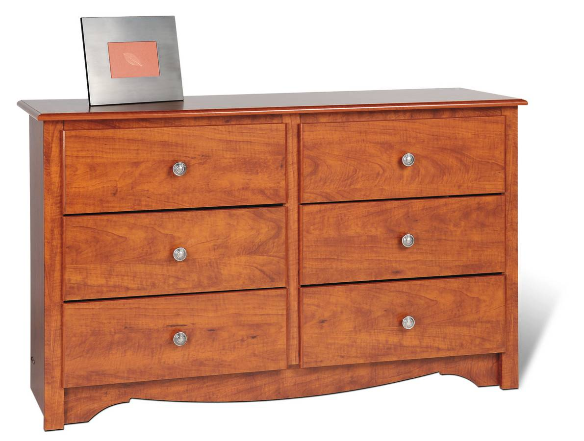 Prepac Cherry Monterey Condo Sized 6 Drawer Dresser