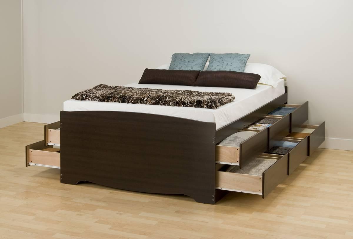 Prepac Espresso Tall Platform Storage Bed