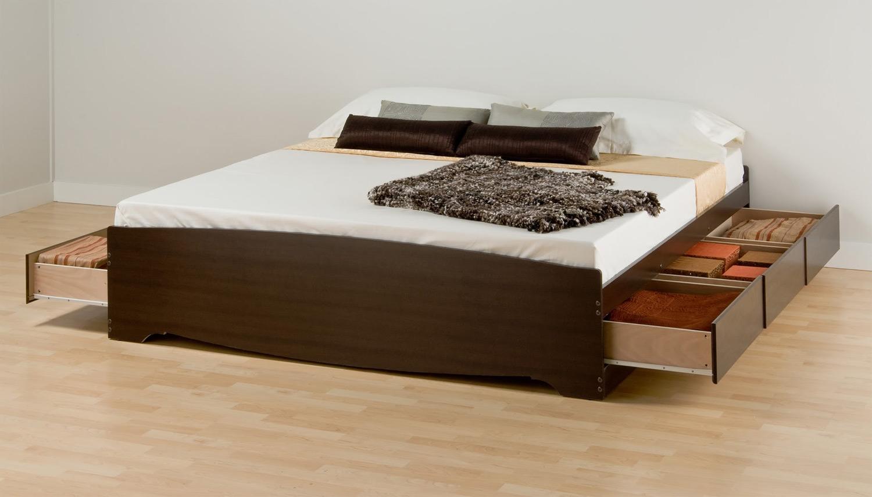 Prepac Mate's Platform Storage Bed with 6 Drawers - Espresso