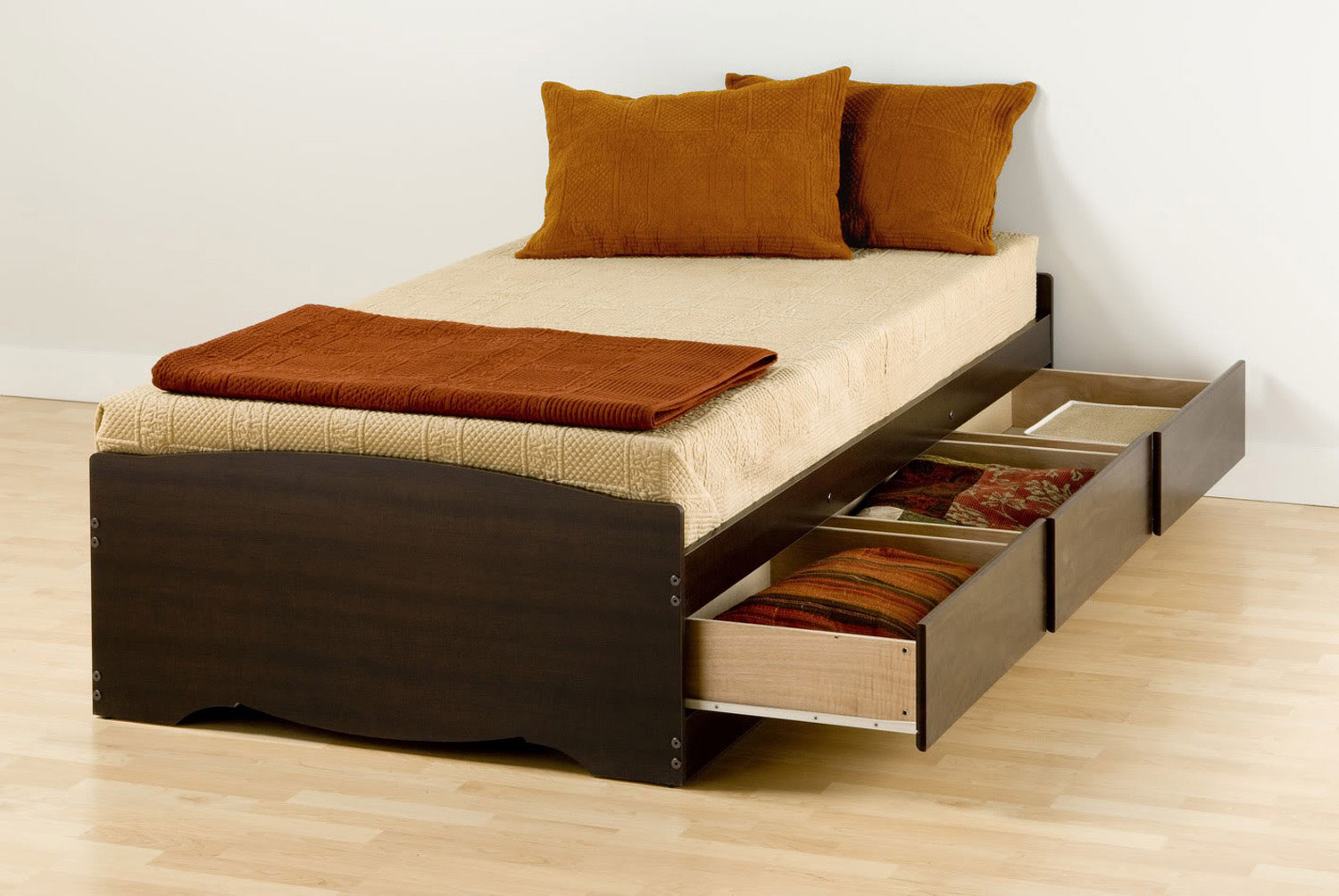 Prepac Mate's Platform Storage Bed with 3 Drawers - Espresso