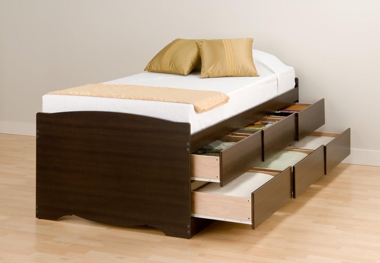 Prepac Captain's Platform Storage Bed with 6 Drawers - Espresso