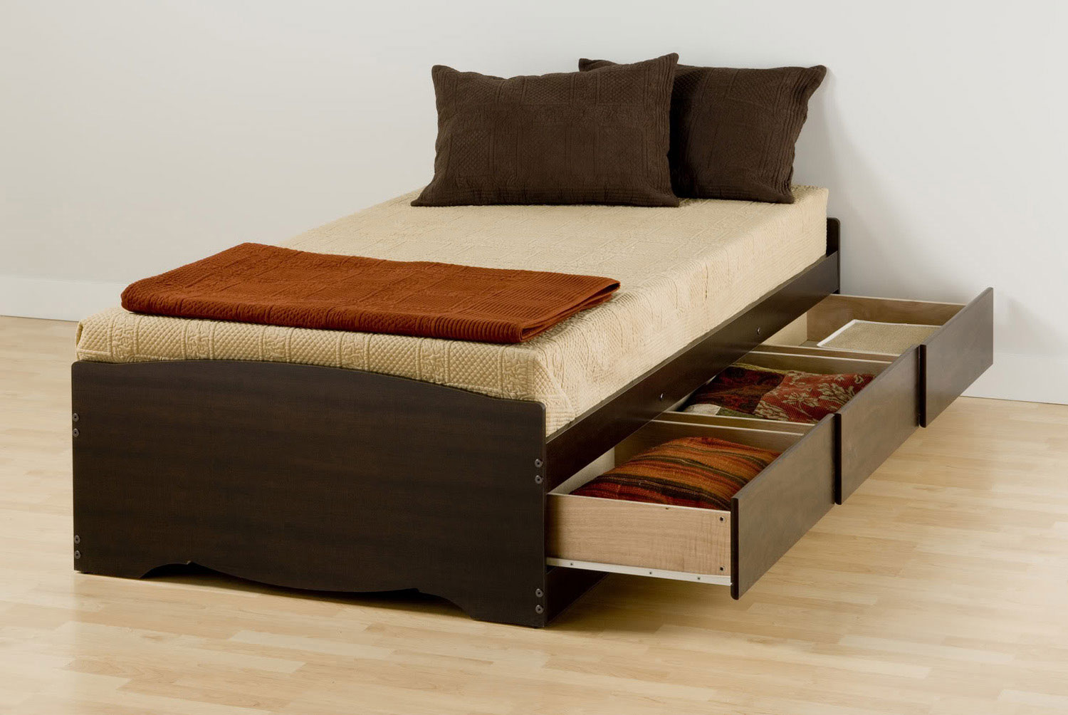 Prepac XL Mate's Platform Storage Bed with 3 Drawers - Espresso