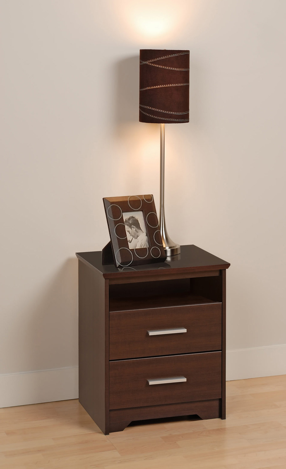 Prepac Coal Harbor 2 Drawer Tall Night Stand with Open Shelf - Espresso