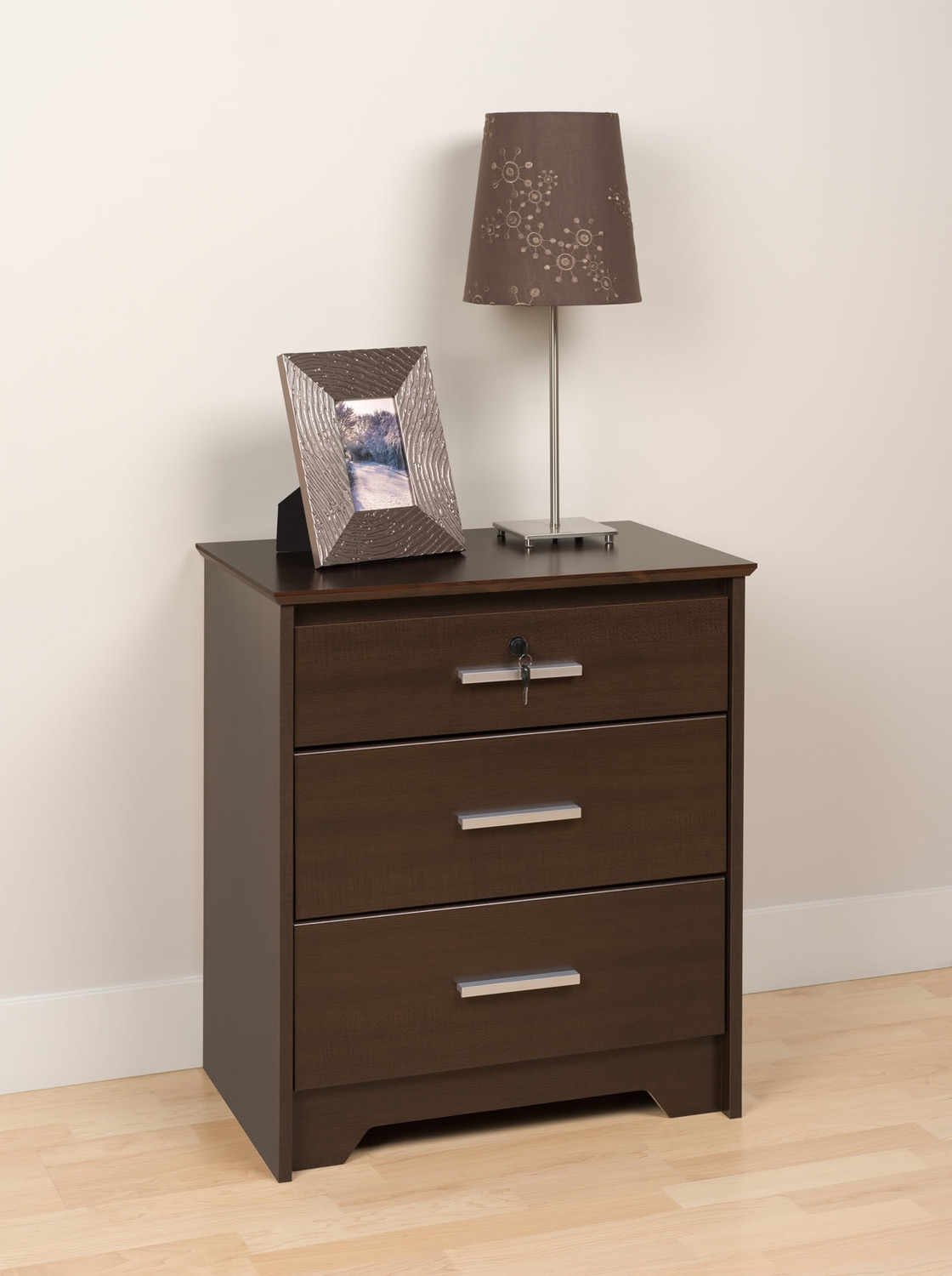 Prepac Coal Harbor 3 Drawer Tall & Wide Night Stand with Lock - Espresso