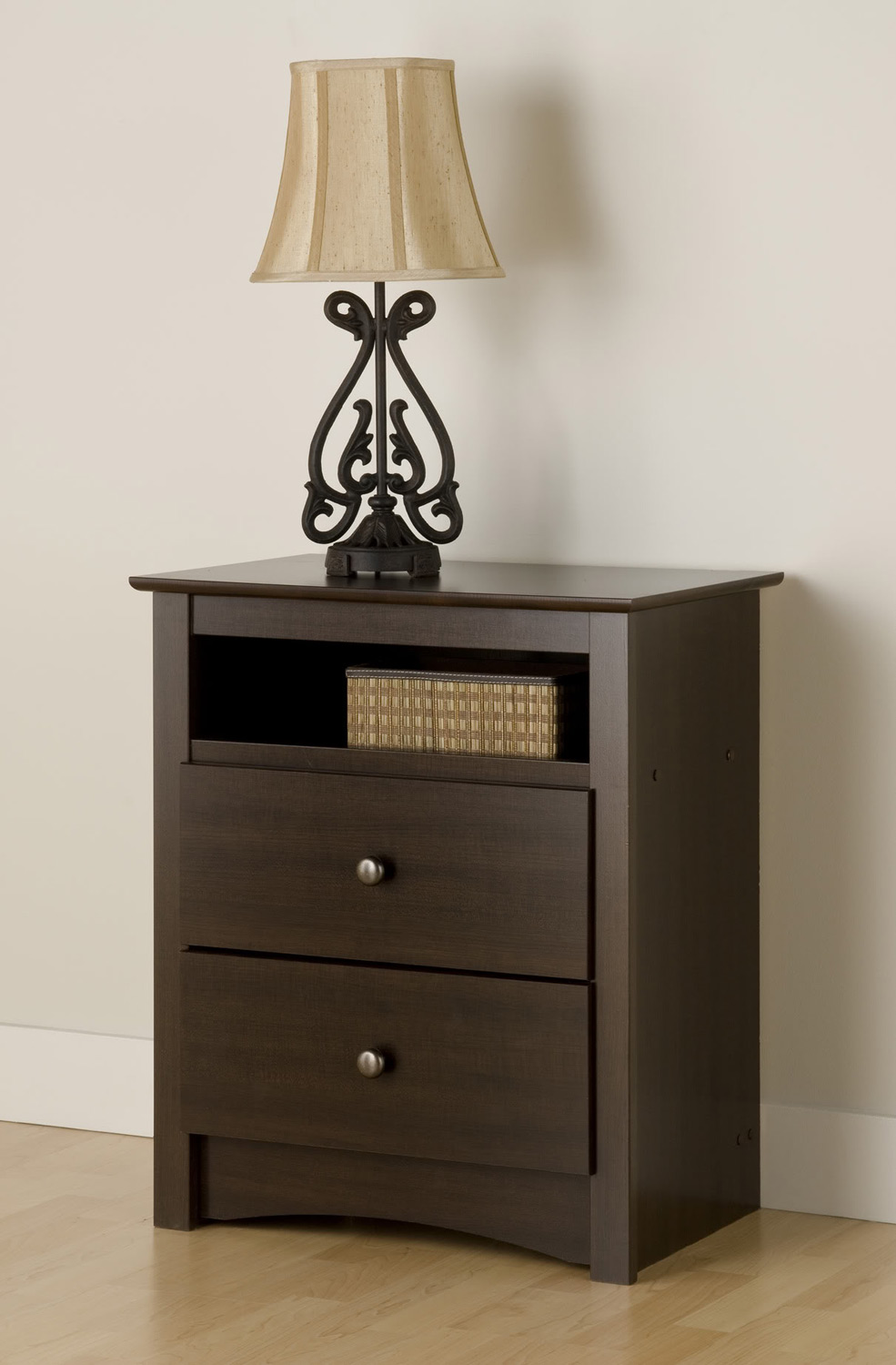 Prepac Fremont Tall 2 Drawer Night Stand with Open Shelf - Espresso