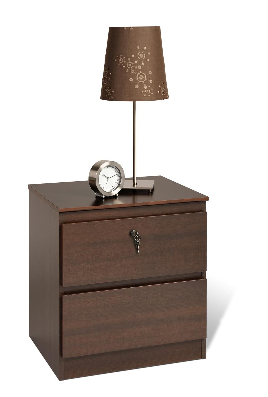 Prepac Avanti 2 Drawer Night Stand with Lock - Espresso