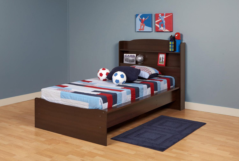 Prepac Aspen Platform Bed with Integrated Headboard - Espresso