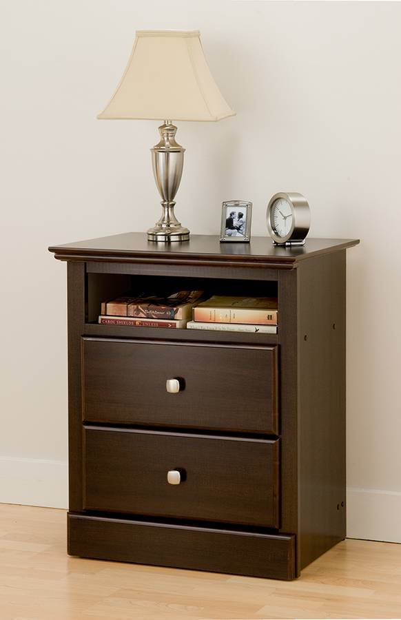 Prepac Espresso Regency Tall 2 Drawer Night Table