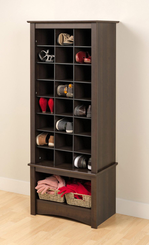 Prepac Tall Shoe Cubbie Cabinet - Espresso