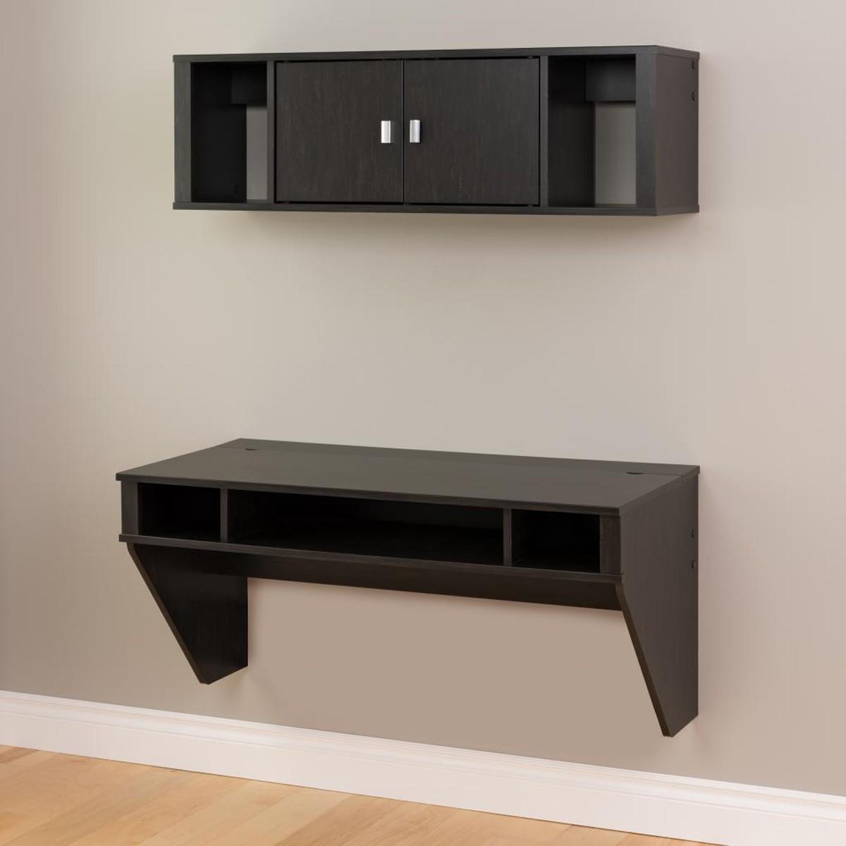 Prepac Designer Floating Desk and Hutch Set - Washed Black
