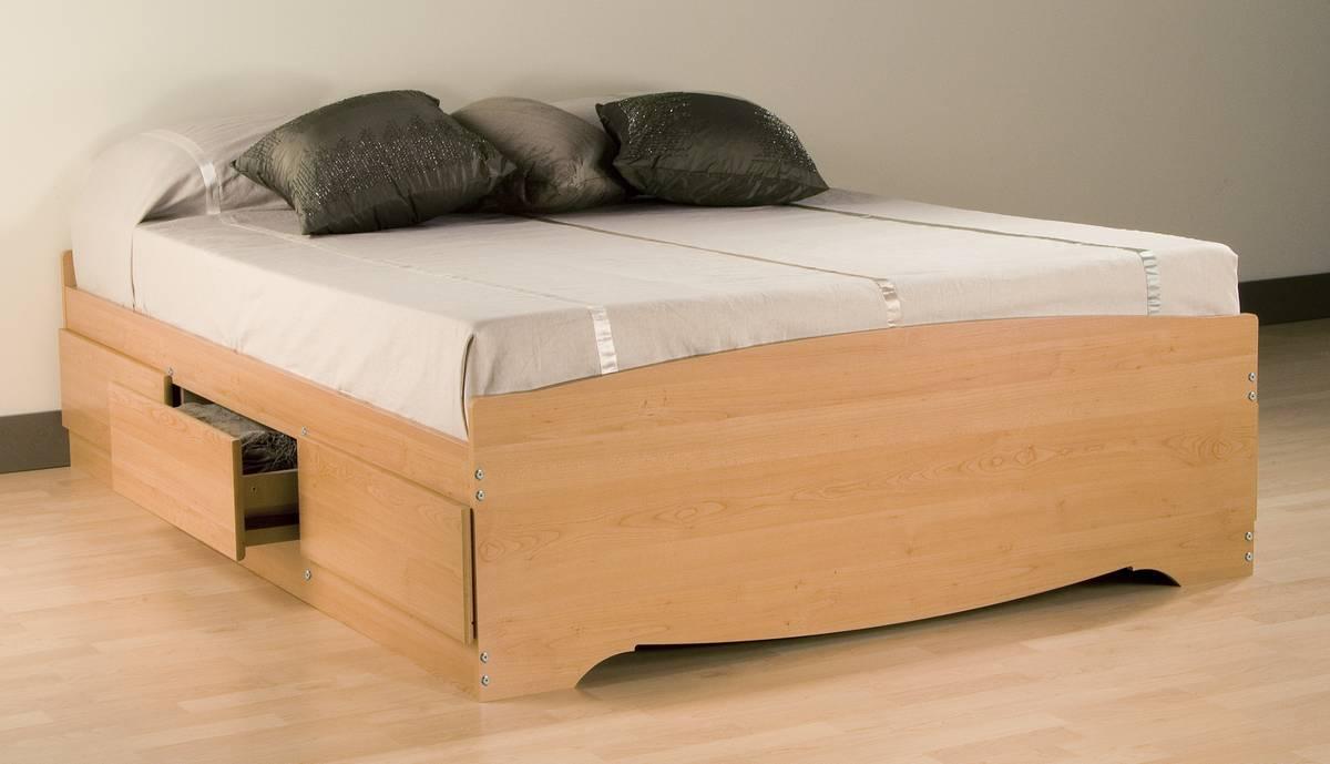 prepac maple platform storage bed