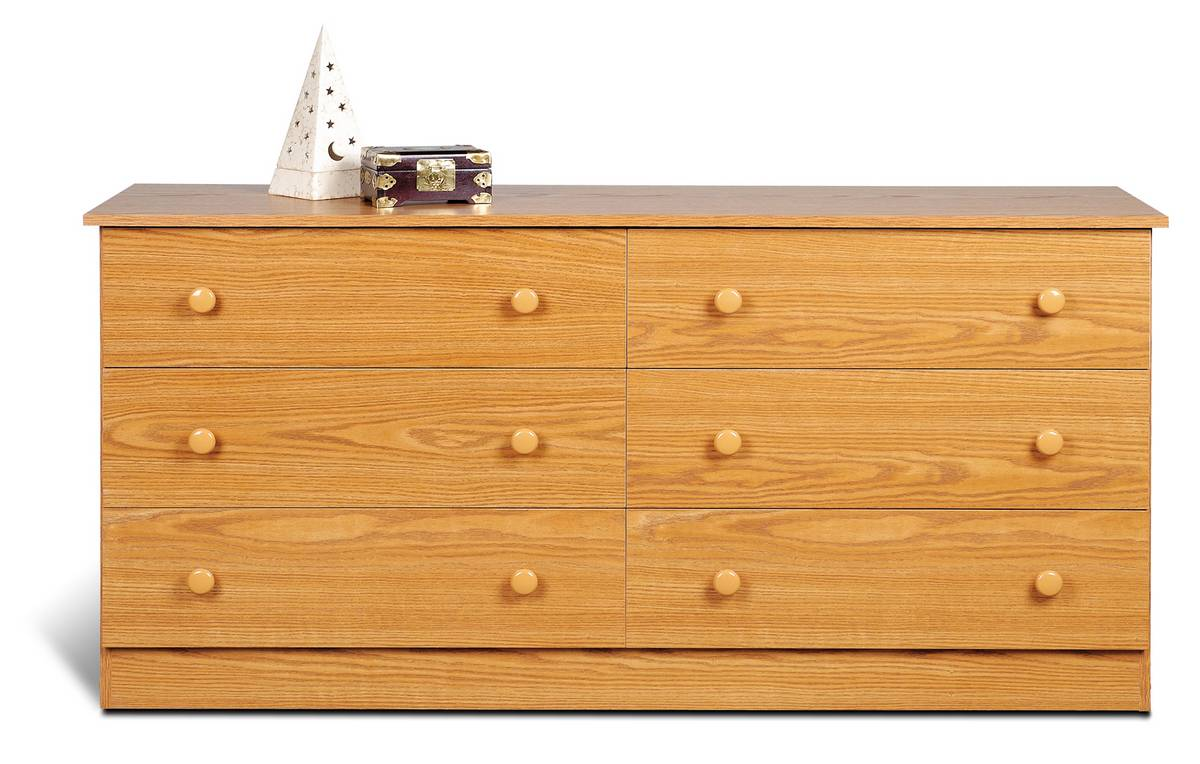 Prepac Oak 6 Drawer Dresser