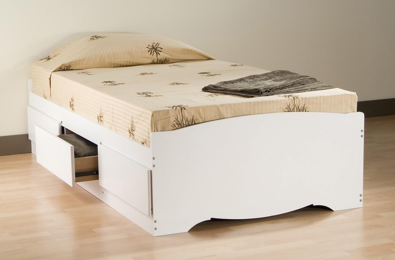 Prepac Mate's Platform Storage Bed with 3 Drawers - White