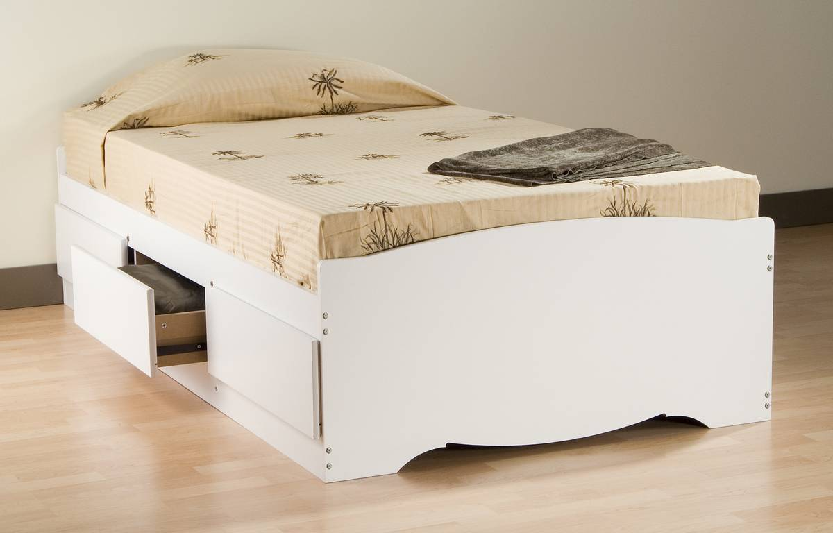 Prepac White Platform Storage Bed
