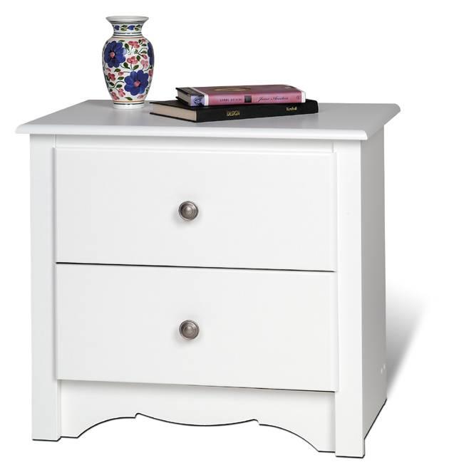 Prepac White Monterey 2 Drawer Night Stand