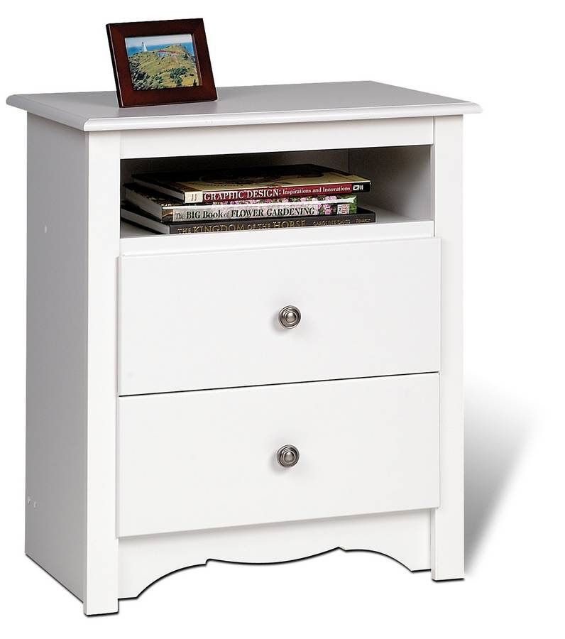 Prepac White Monterey 2 Drawer Tall Night Table with Open Shelf