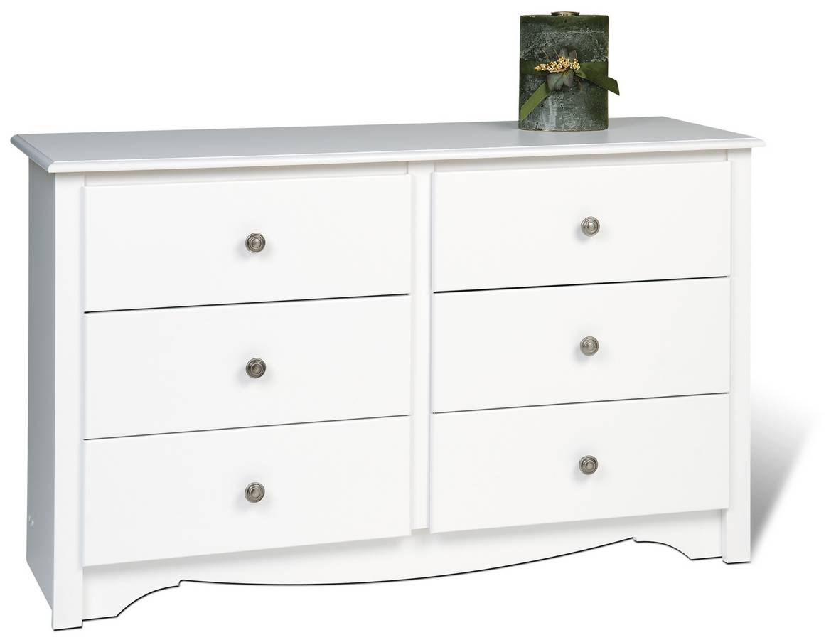 Prepac White Monterey Condo Sized 6 Drawer Dresser