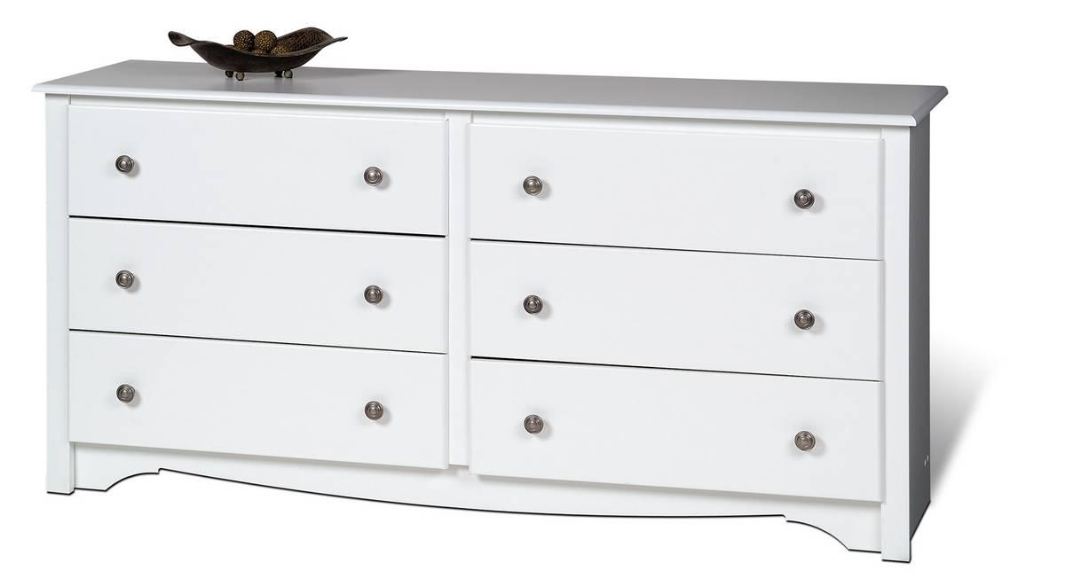 Prepac White Monterey 6 Drawer Dresser