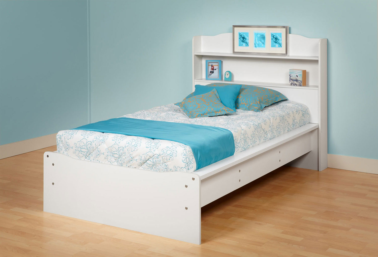 Prepac Aspen Platform Bed with Integrated Headboard - White