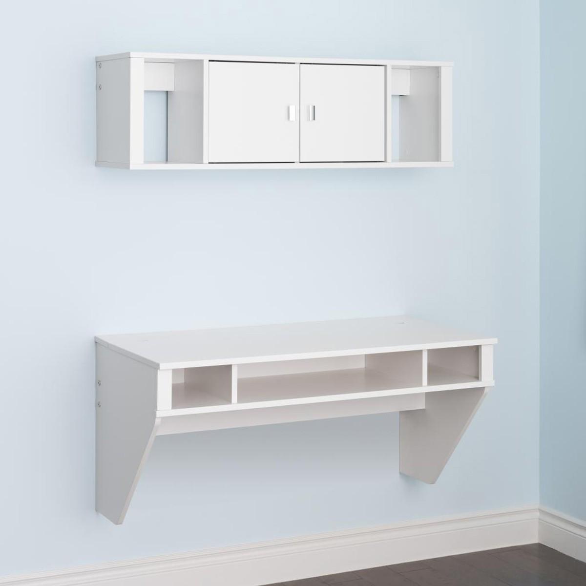 Prepac Designer Floating Desk and Hutch Set - White