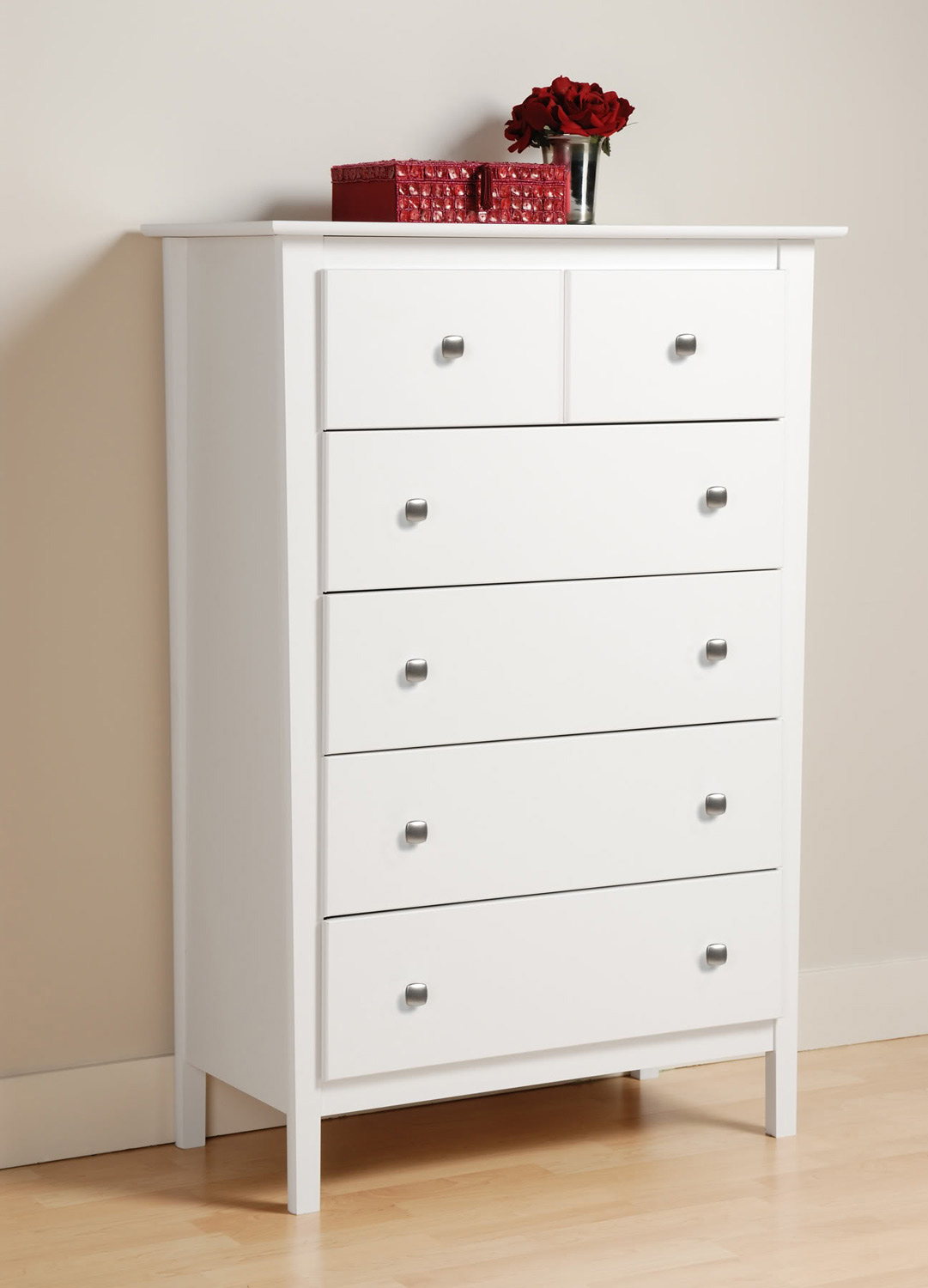 Prepac Berkshire 5 Drawer Chest - White