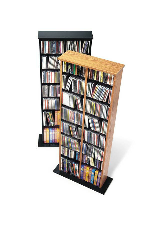 Prepac Oak-Black Double Multimedia Storage Tower