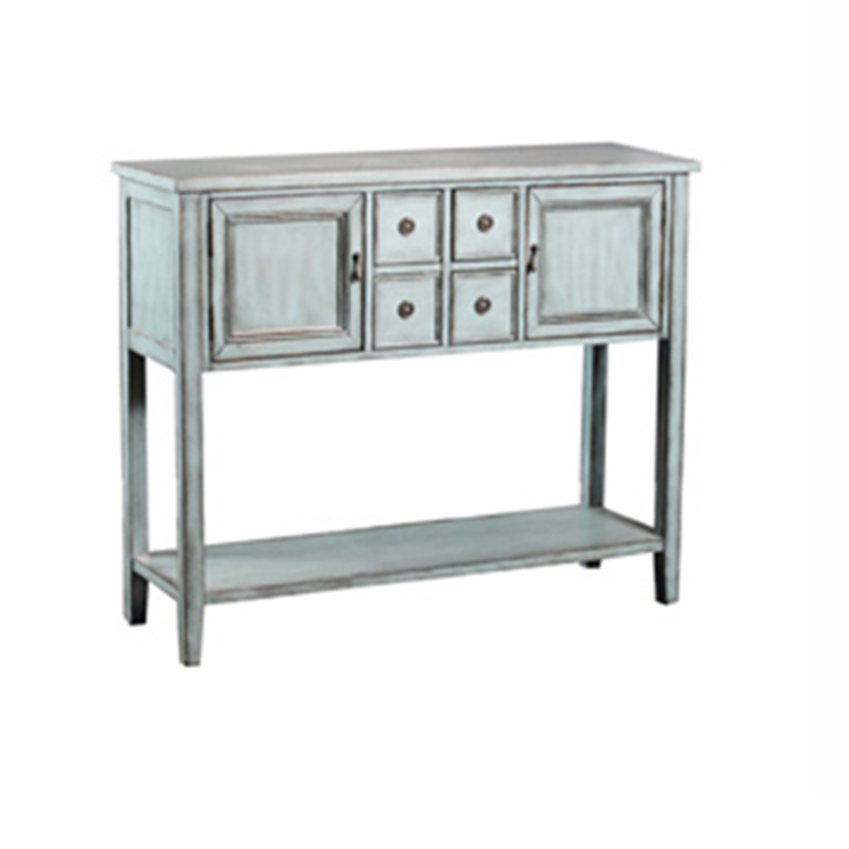 Powell Duplin Console Table   Blue
