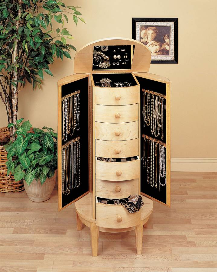 Powell Natural Maple Half Round Jewelry Armoire