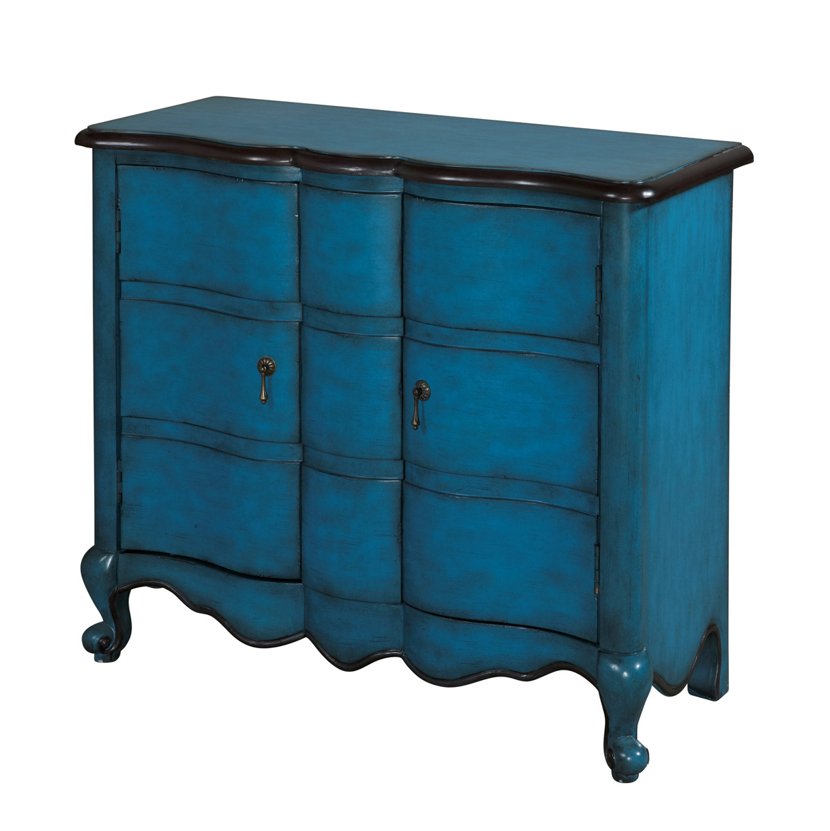 Powell Scalloped 2-Door Chest - Blue