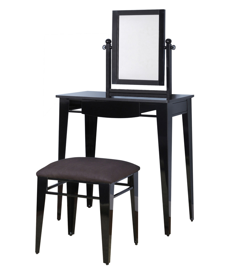Powell Gloss Black Vanity Mirror and Bench