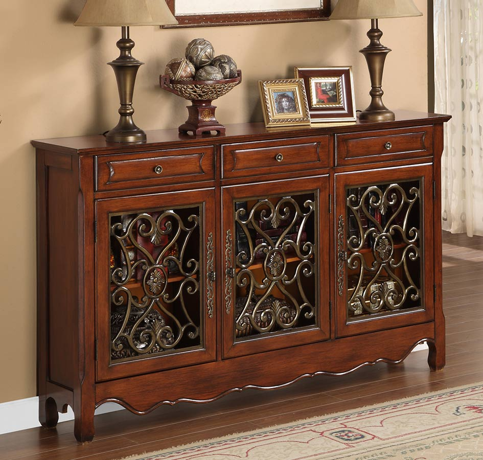 Powell Walnut 3 Door Scroll Console Pw 246 335 At