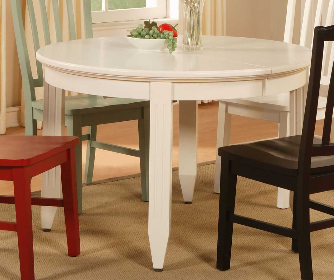 Cheap Powell Color Story Pure White Dining Table with Butterfly Leaf