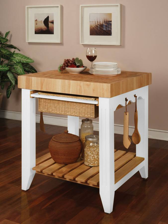 Photo of Powell Color Story Pure White Butcher Block Kitchen Island (Dining Room Furniture, Dining Room Set, Kitchen Cart, Kitchen Island, Serving Cart)