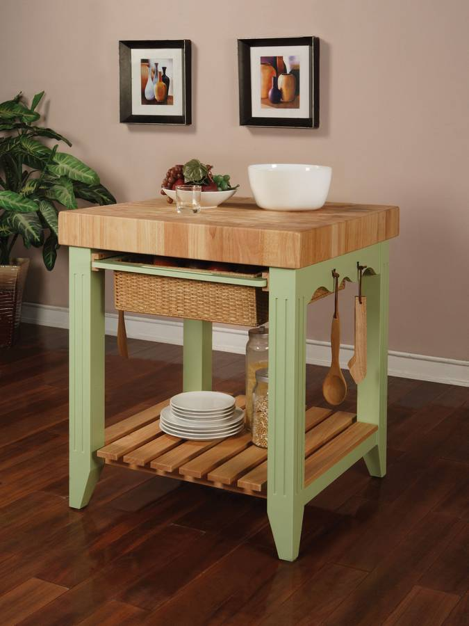 Powell Color Story Sage Green Butcher Block Kitchen Island PW 285 416