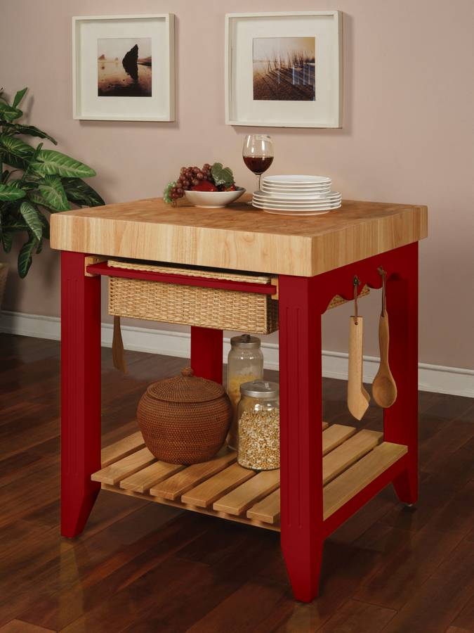 Cheap Powell Color Story Crimson Red Butcher Block Kitchen Island