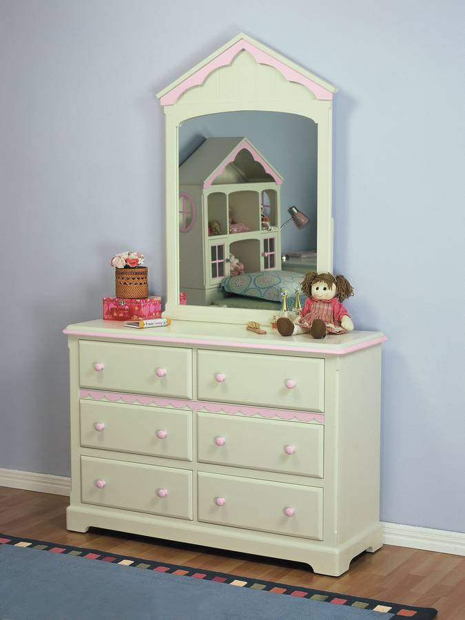 Powell White Twin Bedroom In A Box: Powell Doll House Twin Bedroom Set PW-292-039-SET-BED At