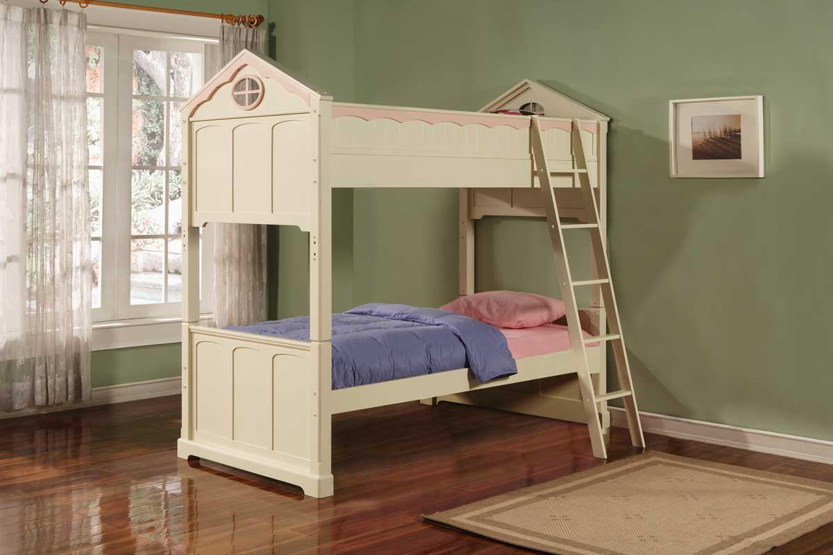Powell White Twin Bedroom In A Box: Powell Doll House Twin-Twin Bunk Bed PW-292-037 At