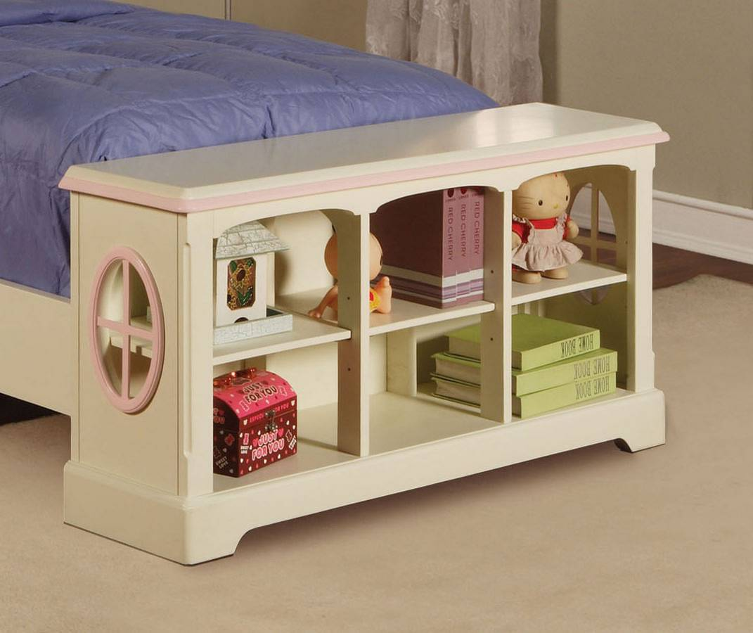 Powell White Twin Bedroom In A Box: Powell Doll House Twin Size Storage Bed PW-292-039-040-041