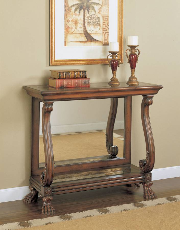 Cheap Powell Masterpiece Console Table with Reverse Painted Glass Top and Mirrored Back Panel