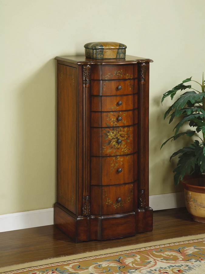 Powell Masterpiece Light Cherry And Floral Jewelry Armoire Pw 316 315 At Homelement Com