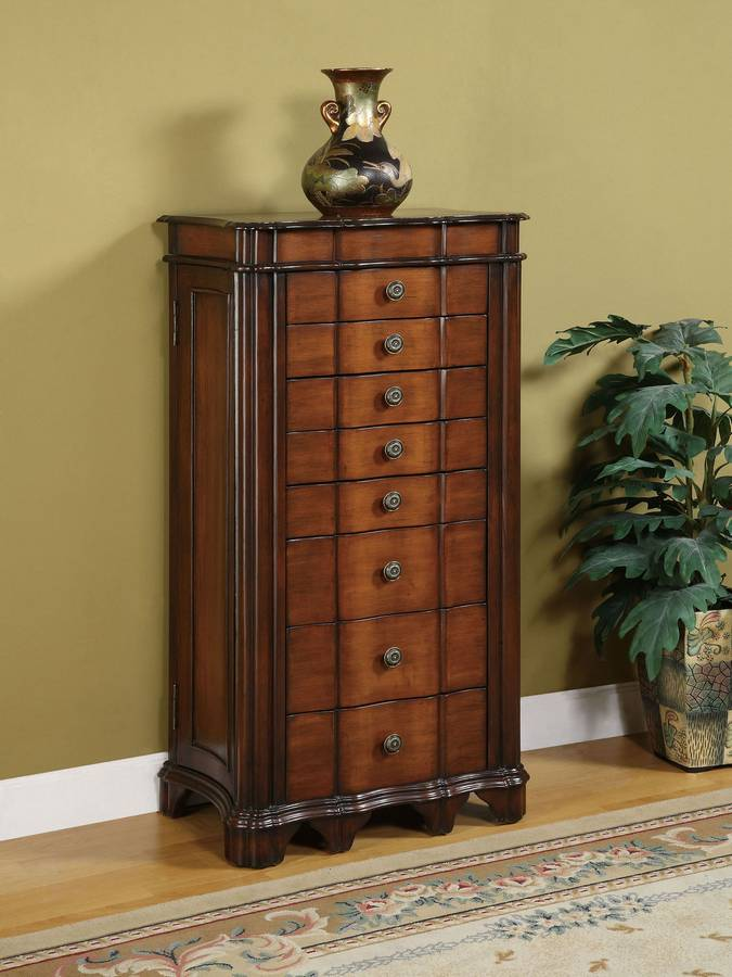 Cheap Powell Masterpiece Faux Cherry with Burl Jewelry Armoire with Lift-Off Jewelry Box