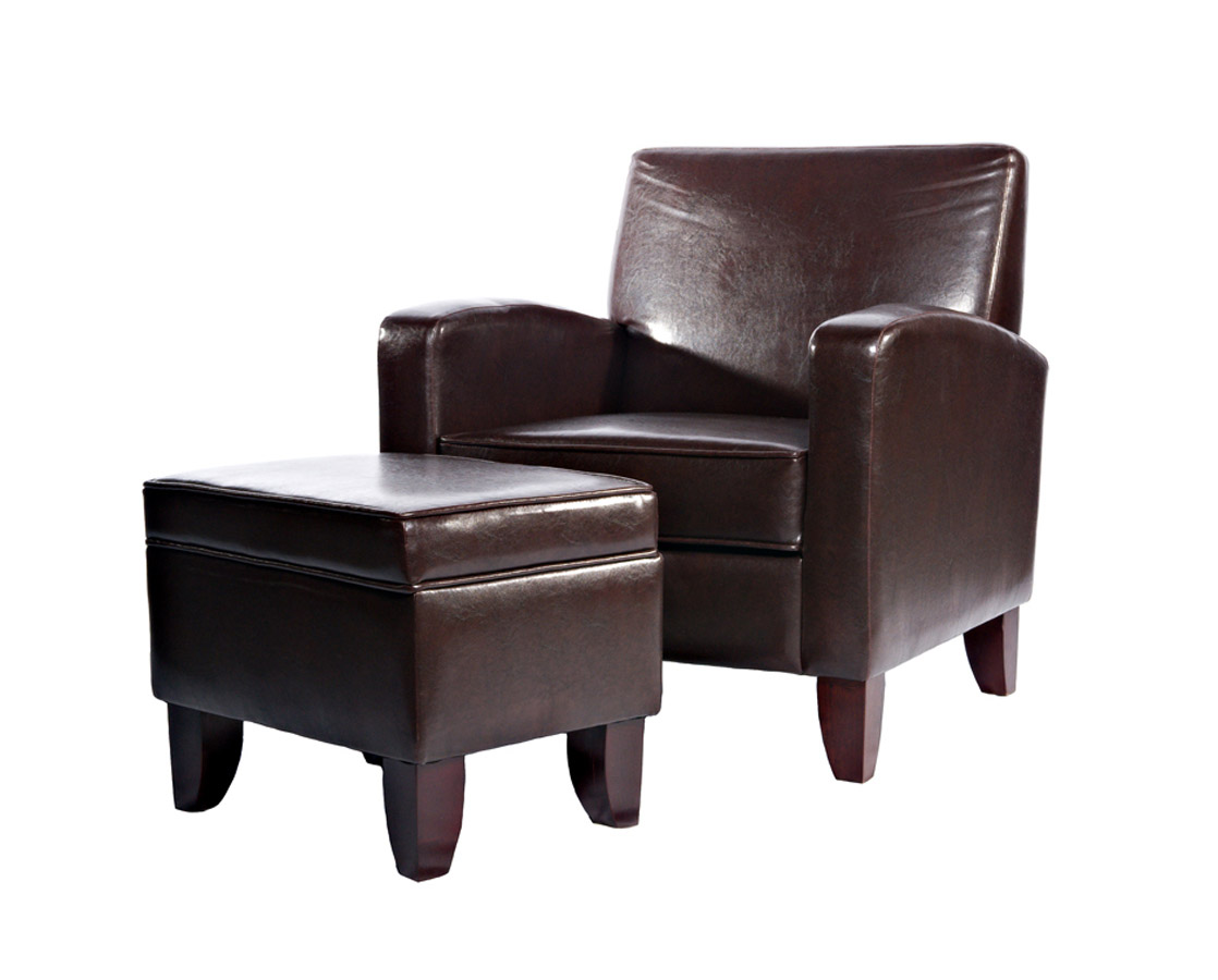 Powell Brown Faux Leather Classic Lounge Chair and Storage Ottoman