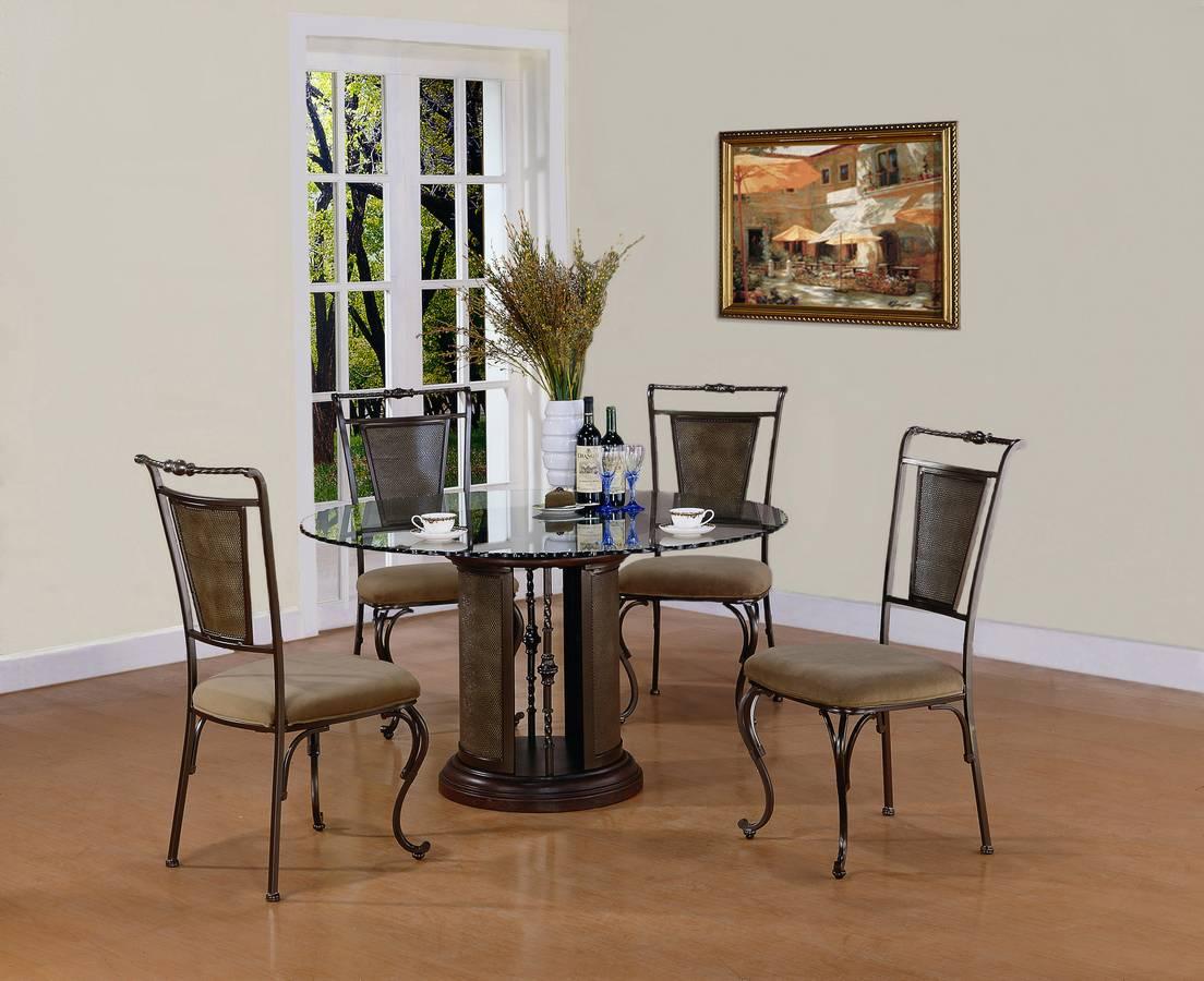 Powell Chevy Chase Dark Bronze Pedestal Dining Set