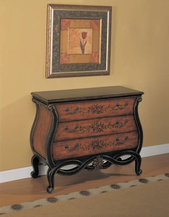 Powell Masterpiece Pierced Apron Hall Chest - Faux Warm Pecan and Hand Painted
