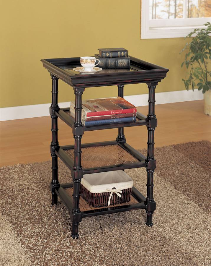 Cheap Powell Masterpiece Antique Black with Brown Rub-Through Side Table