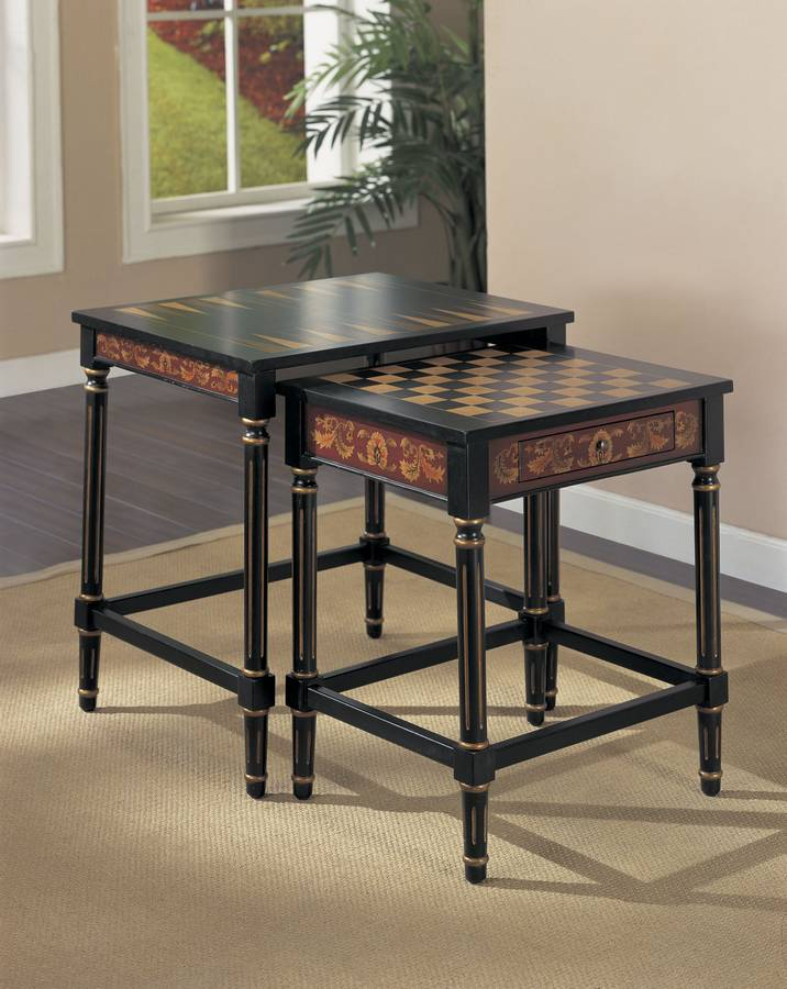 Powell Masterpiece Nested Game Tables with Game Pieces
