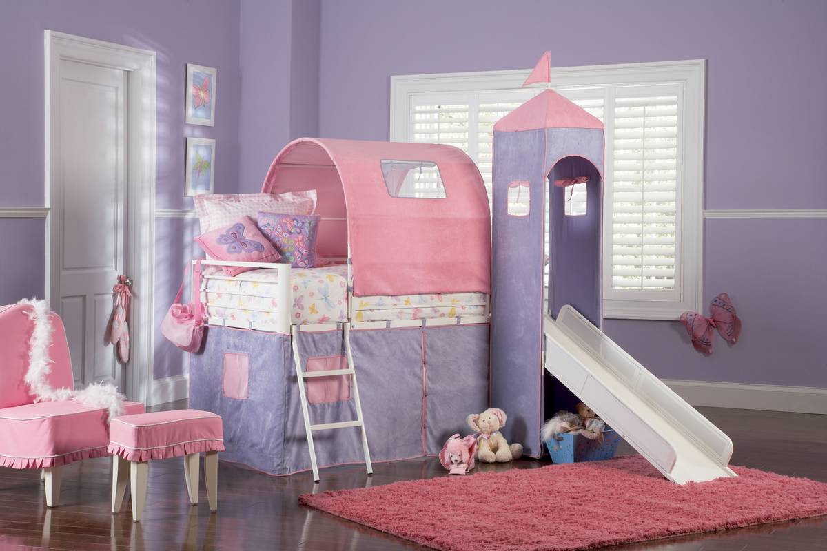 Powell 374 069 Princess Castle Twin Size Tent Bunk Bed With Slide
