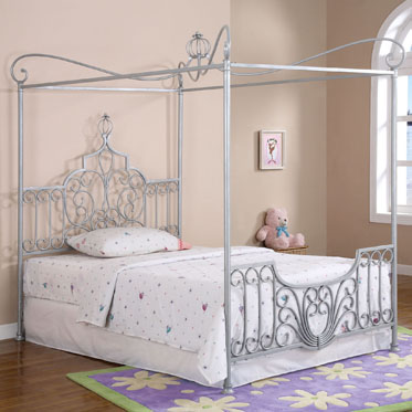 Powell Princess Rebecca Sparkle Silver Canopy Full Size Bed