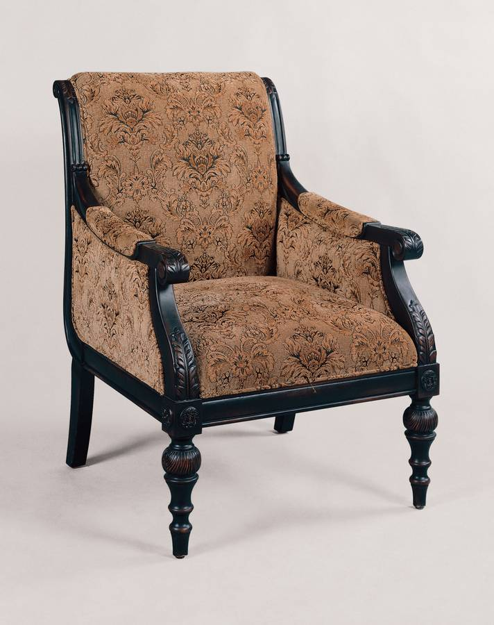 Powell Salzburg Umber Black rub-through Scroll Back Accent Chair with Antique Tapestry Fabric