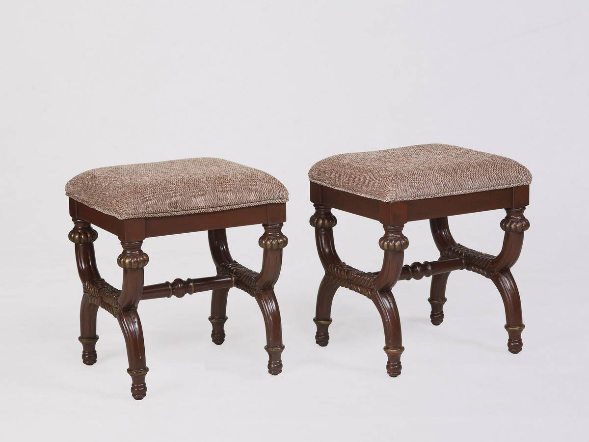 Powell Masterpiece Faux Antique Mahogany Stool